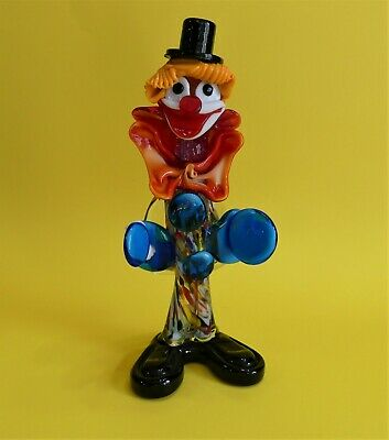 Vtg Murano Art Glass Clown w Cymbal Figurine Handmade with Label  Italy