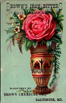 Quack Browns Iron Bitters Medicine Large Fancy Trade Card Baltimore Md