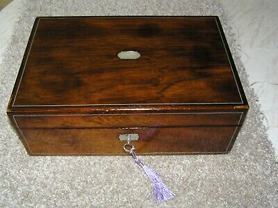 Antique Victorian Rosewood Writing Slope, Mop, Pewter Stringing, Lock & Key.