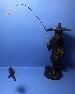 """Vintage Asian Hand-carved Teak Fisherman with hat pole and fish 10"""""""