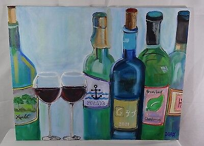 """Large Original Oil Painting - Wine Glasses and Bottles - 28"""" x 22"""" - REDUCED"""
