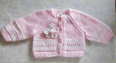 Baby Girls or dolls clothes Hand Knitted cardigan - Hannah's Boutique BNWT