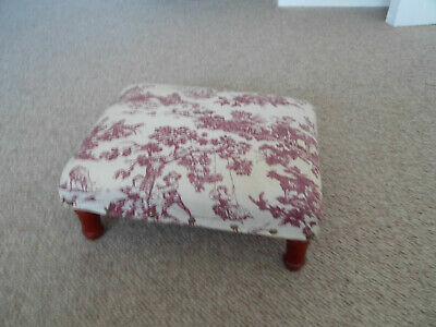Footstool wooden legs country style fabric cover