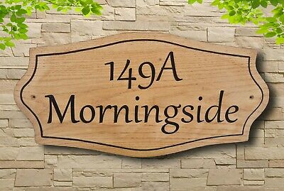 Personalised Oak Family House Name Plaque Wooden Carved Number Sign Outdoor