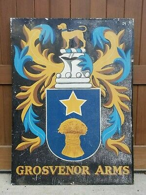 "Vintage ""Grosvenor Arms"" Handpainted English Coat of Arms Pub Sign w/Hunting Dog"