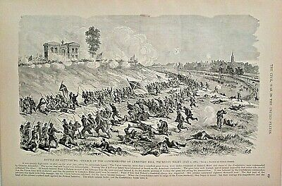 GETTYSBURG PA Confederate Charge Cemetery Hill, 7-2-1863 Vintage Civil War Print