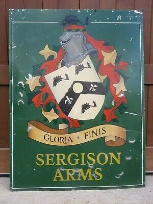 Vintage Sergison Arms Handpainted English Coat of Arms Pub Sign Knight's Helmet