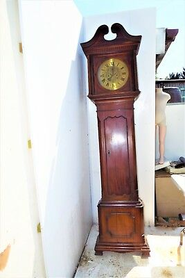 Grandfather Clock brass dial 8 day movement mahogany case.
