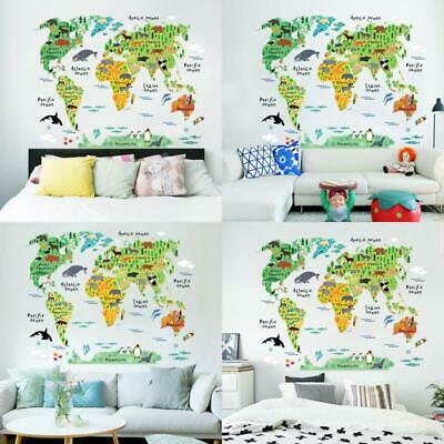 colorful animal world map wall stickers living room home decorations pvc decal m