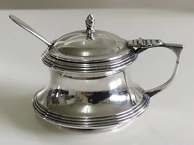 Solid Silver Mustard Pot & Spoon by Charles Edwin Turner Birmingham 1910