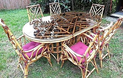 1950's Handmade Bamboo Rattan 6 Seat Oval Dining Set Chippendale