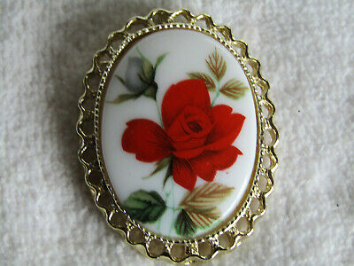 Vintage Hand Painted Porcelain Red Rose Flower Cameo Brooch/Pendant