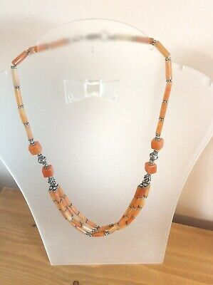Stunning Vintage Carnelian Stranded Necklace With 925 Silver Clasp