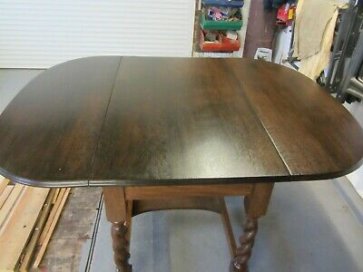 Antique ~Solid Oak ~Drop Leaf Table~ Barley Twist Legs
