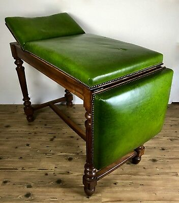 Victorian Oak Wooden Doctors Surgery Bench / Chair / Leather / Antique Furniture