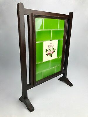 Antique Tiled Fired Screen / Wooden Surround / Green Floral / Edwardian