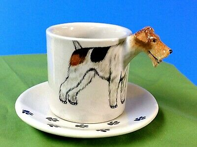 Vintage WIRE FOX TERRIER Cup and Saucer BLUE WITCH Tex-Artes Belgium