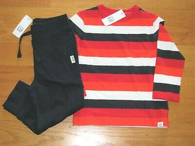 NWT Baby Gap Boy's L/S Stripe T-Shirt/Cotton Jogger Navy Pants Outfit 2T/2Y