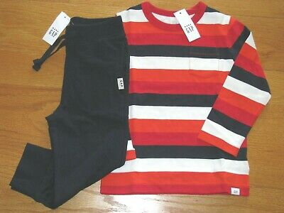 NWT Baby Gap Boy's L/S Stripe T-Shirt/Cotton Jogger Navy Pants Outfit 3T/3Y