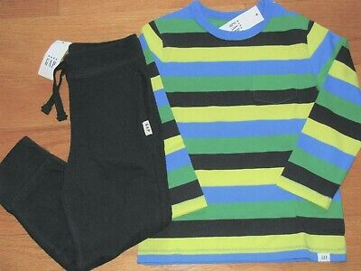 NWT Baby Gap Boy's L/S Stripe T-Shirt/Cotton Jogger Navy Pants Outfit 5T/5Y