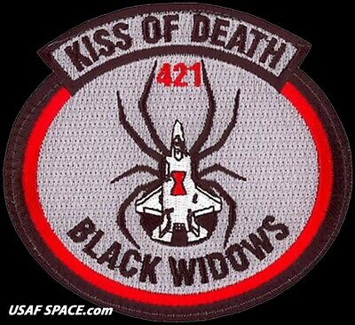 USAF 421ST FIGHTER SQ- BLACK WIDOWS -KISS OF DEATH -Hill AFB, UT- ORIGINAL PATCH