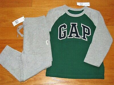 NWT Baby Gap Boy's L/S Logo T-Shirt/Cotton Jogger Gray Pants Outfit 3T/3Y