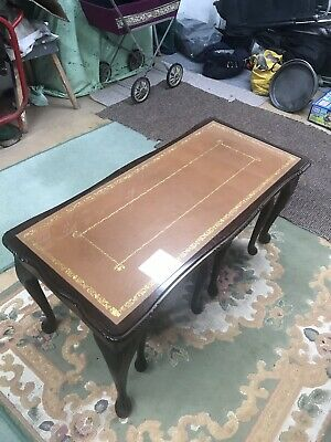 Vintage Mahogany Leather Topped Coffee Table plus 2 Nest of Small Tables
