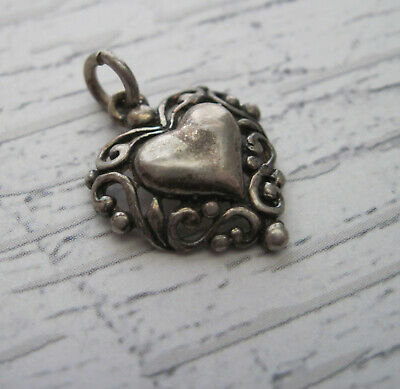 Vintage Sterling Silver Heart Charm .925 Ornate Gothic Jewelry Supplies
