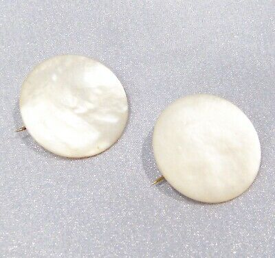 Antique Victorian Hand Carved Mother of Pearl Round Pin Brooch Set of 2