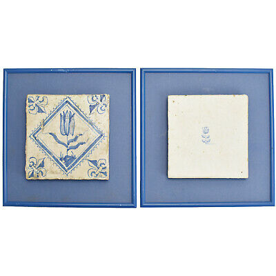 Antique Dutch 17th Century Delft Blue & White Pair of Tiles w. Tulip Framed