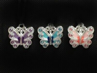 Childrens Jewellery Girls NECKLACE Pink Purple Blue Butterfly Changeable Pendant