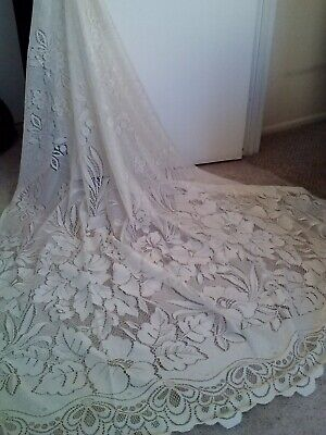 Pair Of Cream Floral Attached Valance Thick Net Lace Panels-63X82    Gorgeous