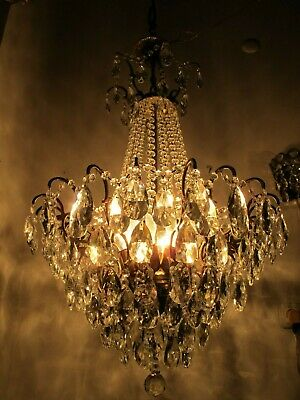 "Antique Vnt French HUGE Brass Spider Style Crystal Chandelier 1940's 20"" Ø Rar"