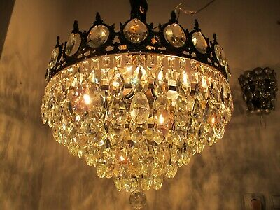 Antique Vnt French Plafonniere Crystal Chandelier Lamp Lustre 1940's 18in Dmetr