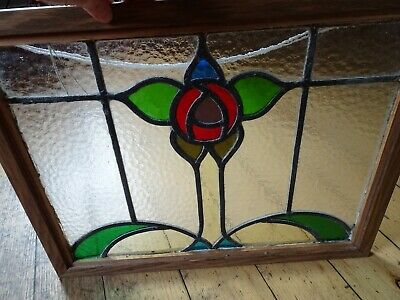Beautiful Vintage Arts & Crafts Style Stained Glass Panel Window Floral Design