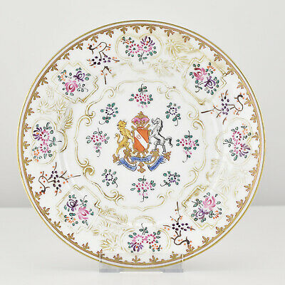 Antique 19th C. Chinese Export Style Porcelain Armorial Samson Plate No.2