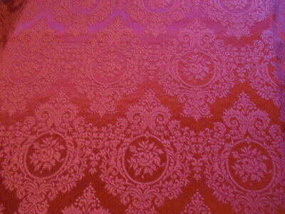Vintage French Damask Brocade Upholstery Fabric Burgundy Red New/Old Stock