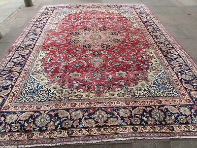 Vintage Hand Made Traditional Rugs Oriental Wool Red Blue Large Carpet 371x290cm