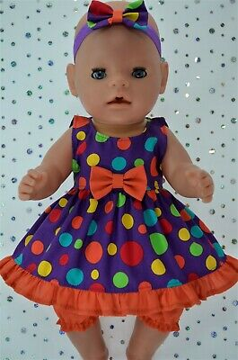 """Play n Wear Dolls Clothes For 17"""" Baby Born MULTI SPOT DRESS~BLOOMERS~HEADBAND"""