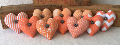 Primitive Ornies Orange Fall Thanksgiving Mini Hearts Bowl Fillers Make Do's