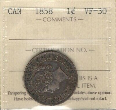 1858 Large Cent ICCS VF-30 Beautiful HIGH Grade KEY 1st Victoria & Canada Penny
