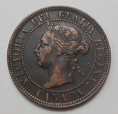 1901 Large Cent VF-EF Very Nice HIGH Grade LAST Year Queen Victoria Canada Penny
