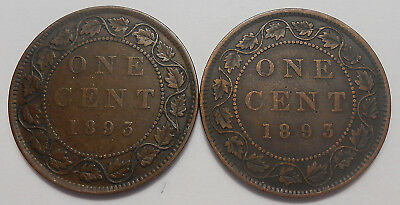 1893 NARROW & WIDE DATE Large Cent F-VF SCARCE Variety Victoria Canada Penny Set