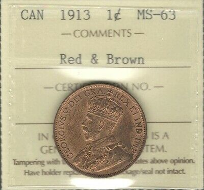 1913 Large Cent ICCS MS-63 RB Lustrous BEAUTIFUL Original George V Canada Penny