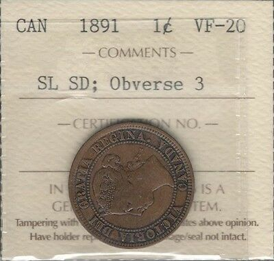1891 SDSL OBV.#3 Large Cent ICCS VF-20 ** RARE Variety KEY Victoria Canada Penny