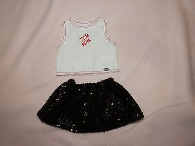 American Girl AG Poinsettia Sequined Skirt Holiday Outfit Top Shoes 4 pc set