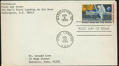 C76 Moon Landing Cachet 1969 Dual Cancel First Day  .NO CACHET great for artist