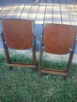 Vintage 40s US American Seating Co. WOODEN FOLDING CHAIR PAIR