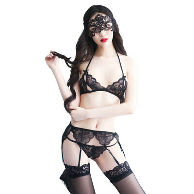 Lady Sexy Open Lace Lingerie-bra G-string Suspender Belt Underwear With Mask