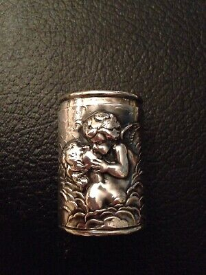 Sterling Silver Snuff/ Pill Box Embossed Angel Kissing Woman